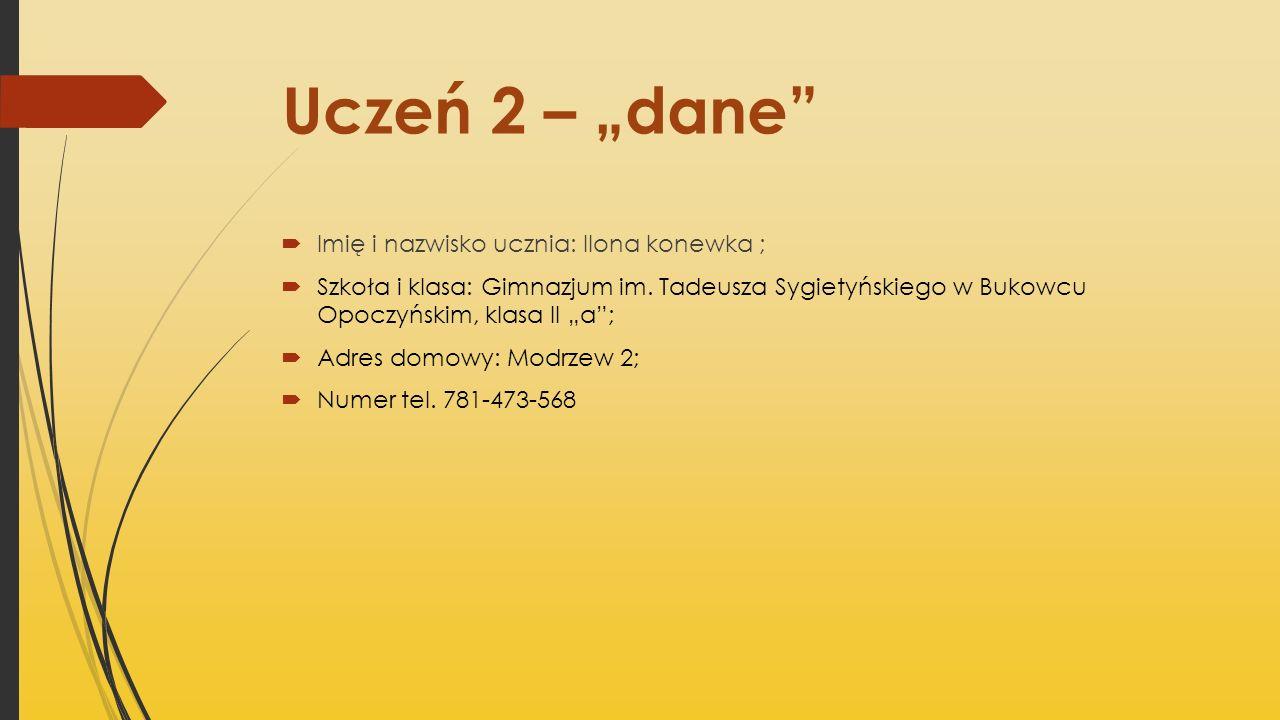 Uczeń 2 – dane Imię i nazwisko ucznia: Ilona konewka ; Szkoła i klasa: Gimnazjum im. Tadeusza Sygietyńskiego w Bukowcu Opoczyńskim, klasa II a; Adres