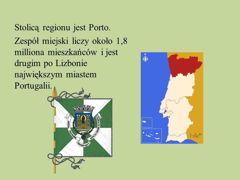 Stolicą regionu jest Porto. Zespół miejski liczy około 1,8 milliona mieszkańców i jest drugim po Lizbonie największym miastem Portugalii.