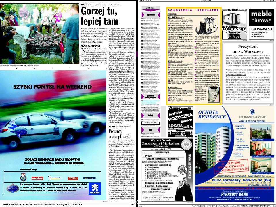 IV Ogólnopolski Kongres Badaczy Rynku i Opinii 16-17 października 2003 Rynek: anonse ogłoszeniowe *Strony i mutacje