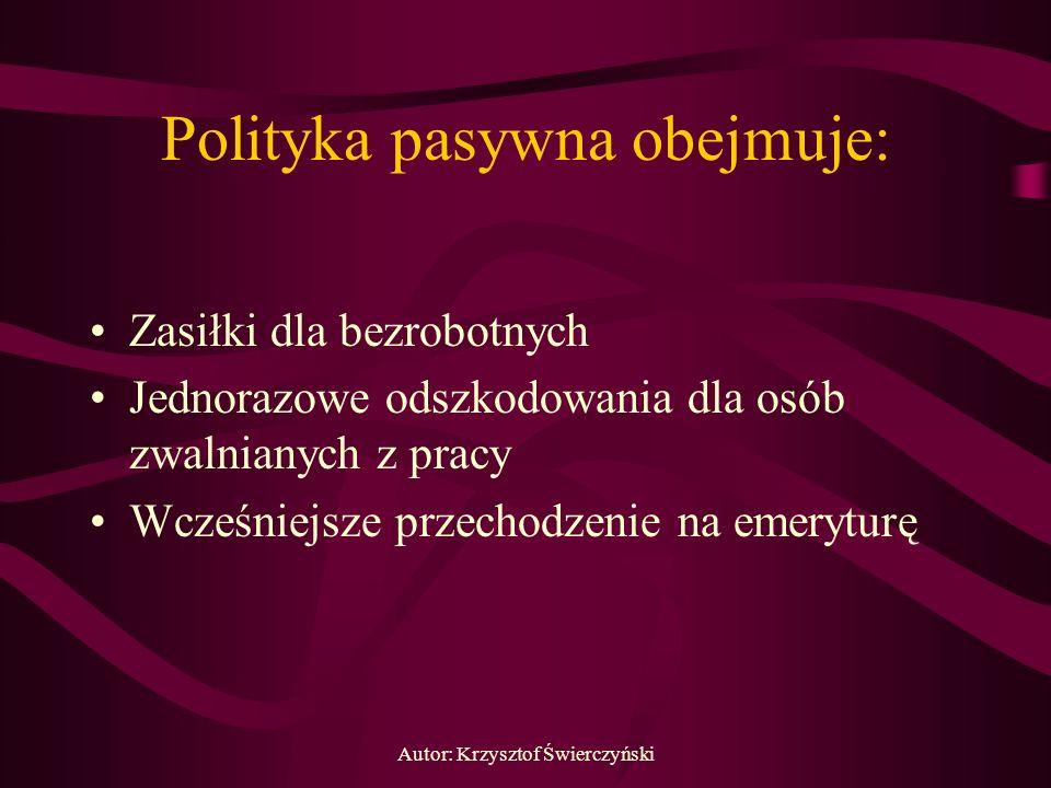 Autor: Krzysztof Świerczyński Polityka pasywna obejmuje: Zasiłki dla bezrobotnych Jednorazowe odszkodowania dla osób zwalnianych z pracy Wcześniejsze