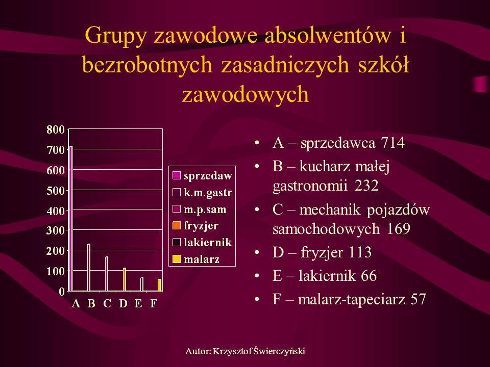 Autor: Krzysztof Świerczyński Grupy zawodowe absolwentów i bezrobotnych zasadniczych szkół zawodowych A – sprzedawca 714 B – kucharz małej gastronomii