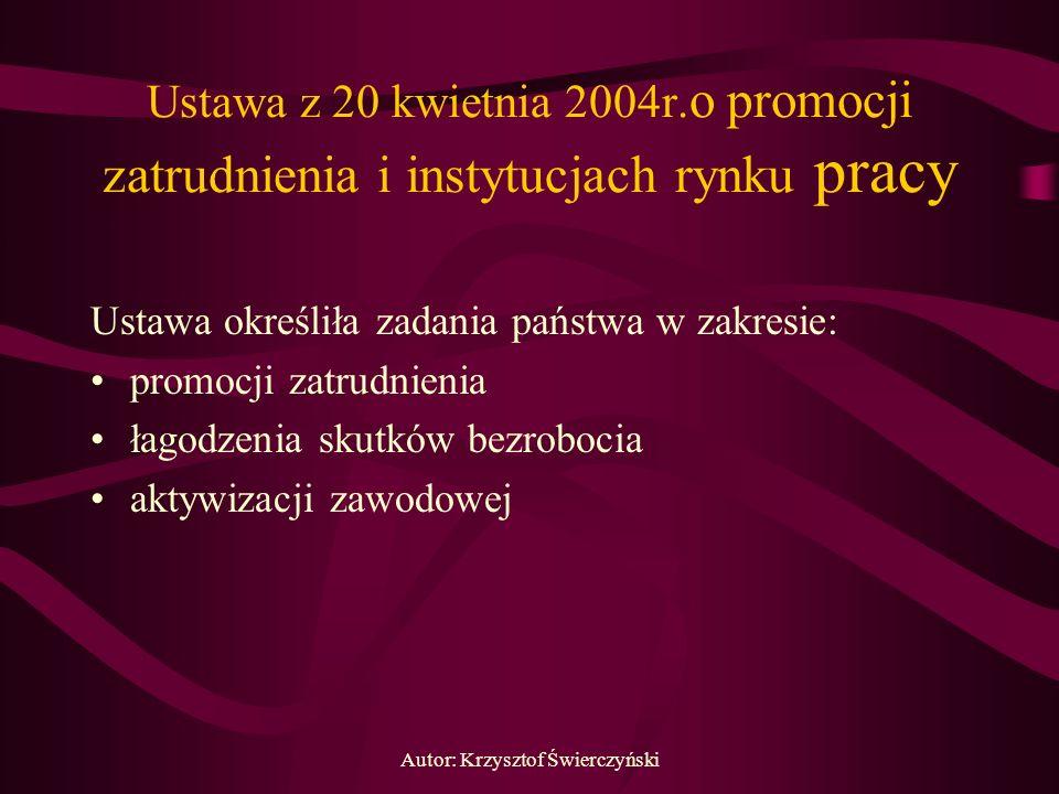 Autor: Krzysztof Świerczyński Ustawa z 20 kwietnia 2004r. o promocji zatrudnienia i instytucjach rynku pracy Ustawa określiła zadania państwa w zakres