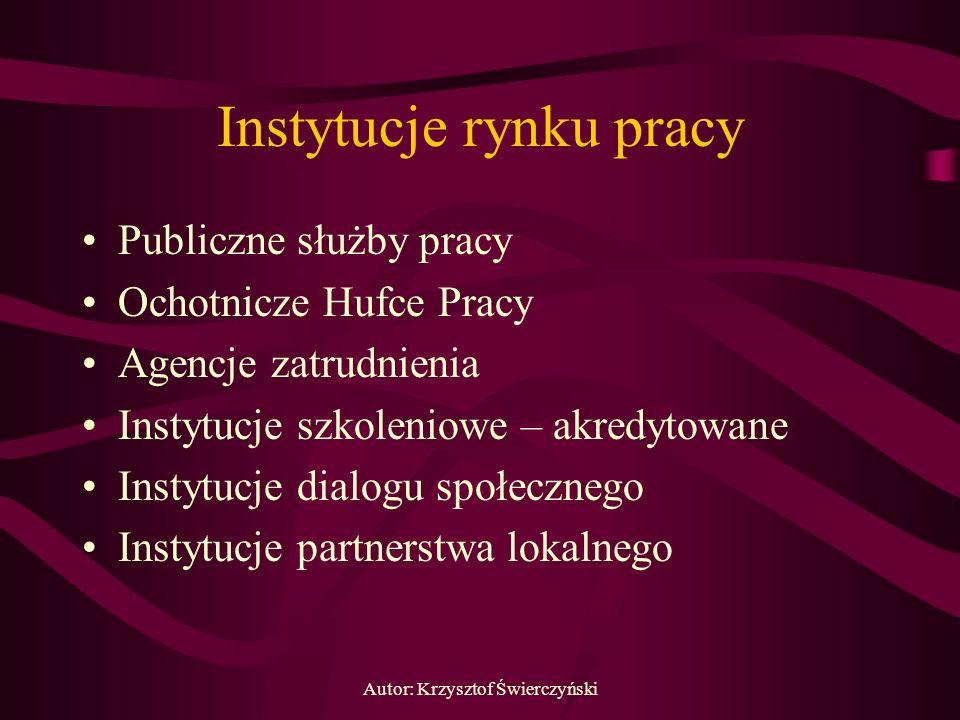 Autor: Krzysztof Świerczyński Instytucje rynku pracy Publiczne służby pracy Ochotnicze Hufce Pracy Agencje zatrudnienia Instytucje szkoleniowe – akred