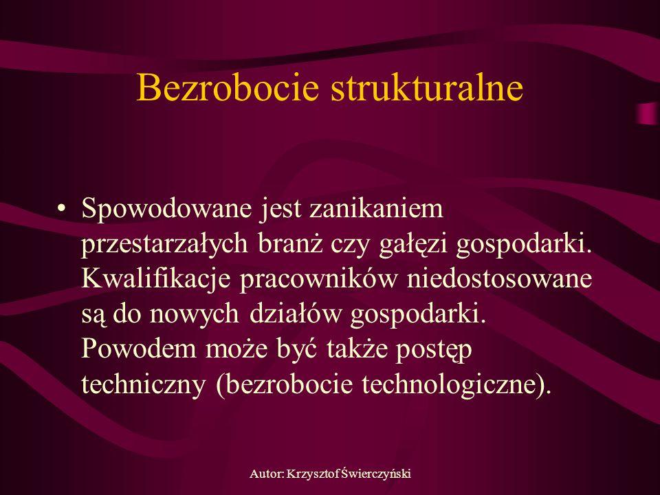 Autor: Krzysztof Świerczyński Bezrobocie strukturalne Spowodowane jest zanikaniem przestarzałych branż czy gałęzi gospodarki. Kwalifikacje pracowników