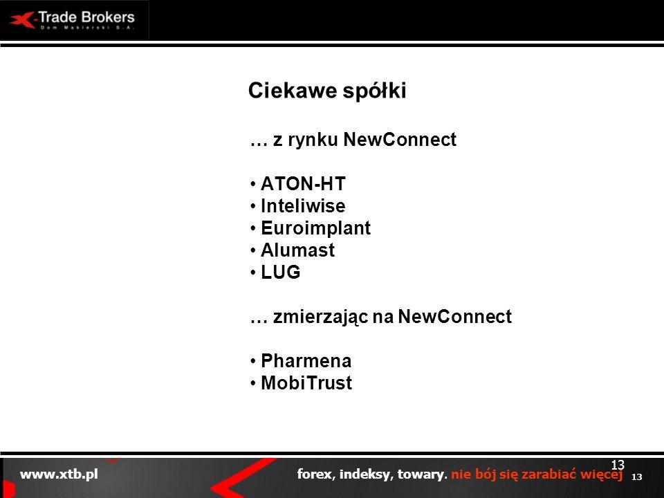 13 www.xtb.pl forex, indeksy, towary. nie bój się zarabiać więcej 13 Ciekawe spółki … z rynku NewConnect ATON-HT Inteliwise Euroimplant Alumast LUG …