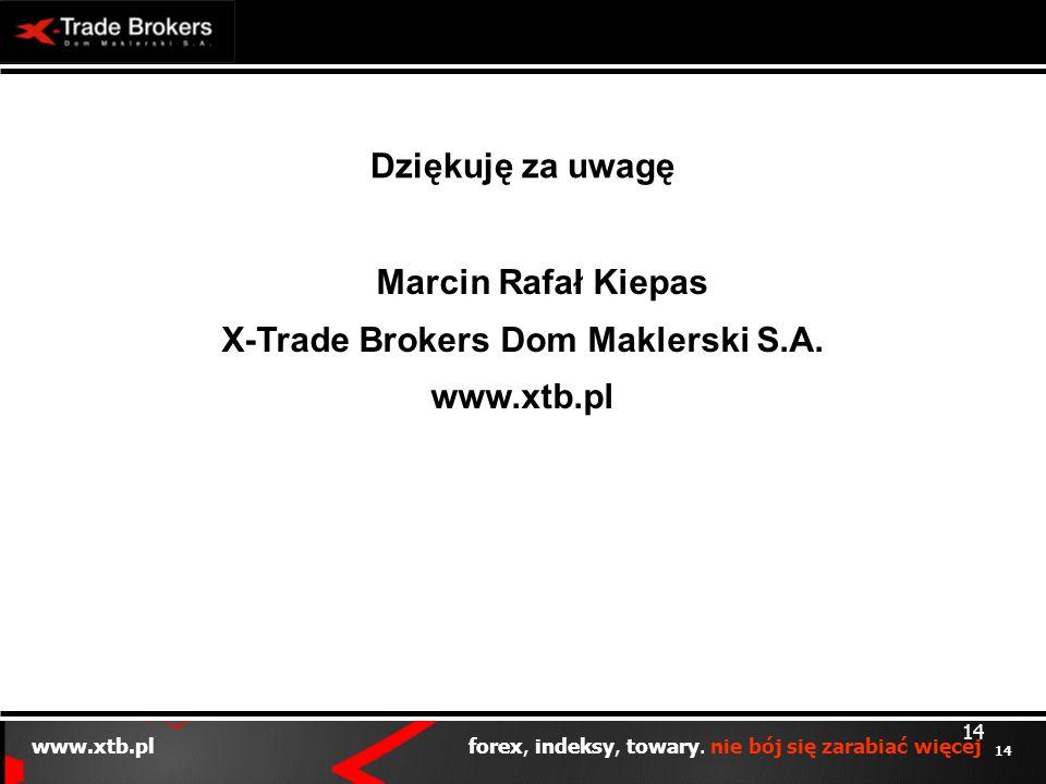 14 www.xtb.pl forex, indeksy, towary. nie bój się zarabiać więcej 14 Dziękuję za uwagę Marcin Rafał Kiepas X-Trade Brokers Dom Maklerski S.A. www.xtb.