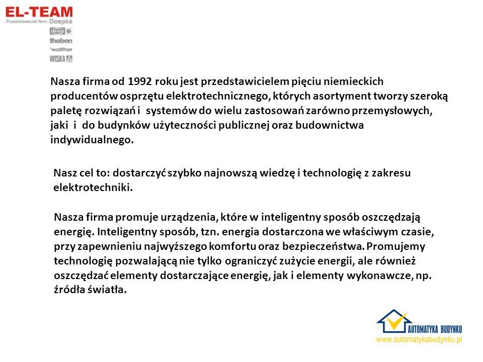 Nasza firma od 1992 roku jest przedstawicielem pięciu niemieckich producentów osprzętu elektrotechnicznego, których asortyment tworzy szeroką paletę rozwiązań i systemów do wielu zastosowań zarówno przemysłowych, jaki i do budynków użyteczności publicznej oraz budownictwa indywidualnego.