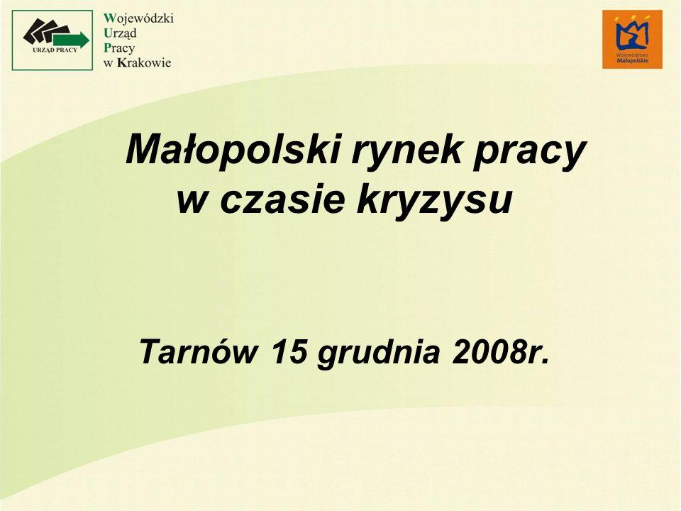 Obraz małopolskiego rynku pracy Wzrost wskaźnika zatrudnienia do poziomu 48,9% Wzrost liczby pracujących o 150 tys.