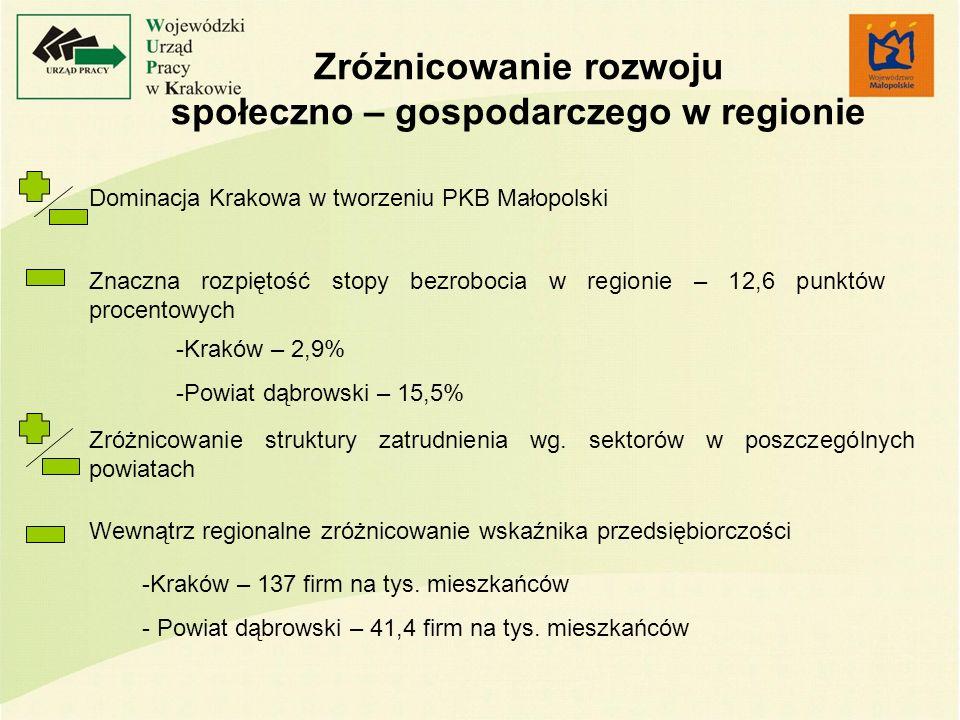 Zróżnicowanie rozwoju społeczno – gospodarczego w regionie Dominacja Krakowa w tworzeniu PKB Małopolski Znaczna rozpiętość stopy bezrobocia w regionie – 12,6 punktów procentowych Zróżnicowanie struktury zatrudnienia wg.
