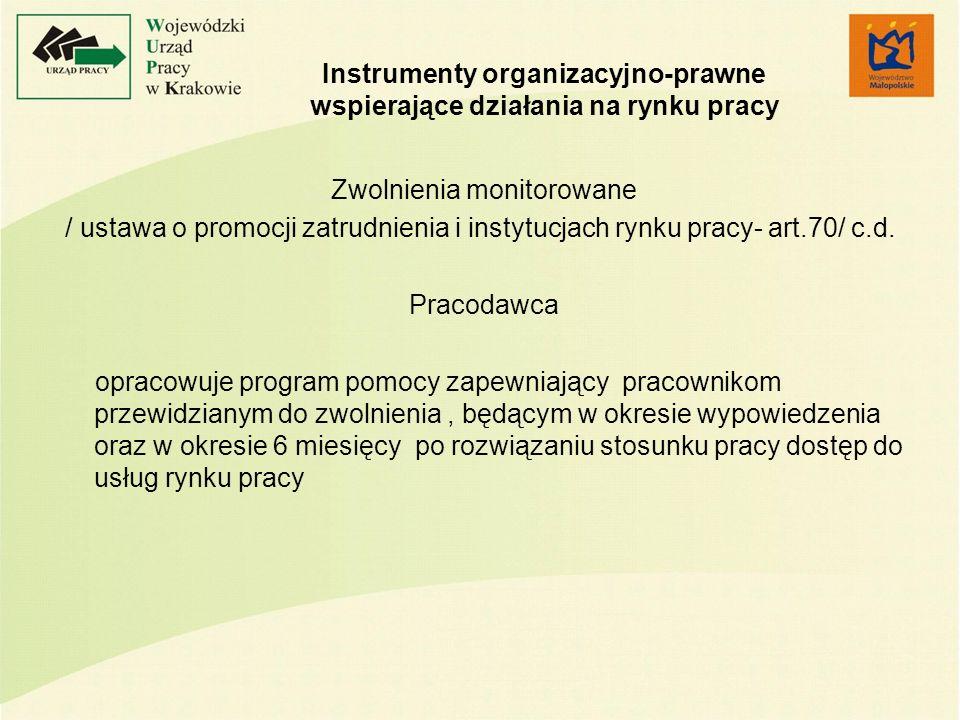 Instrumenty organizacyjno-prawne wspierające działania na rynku pracy Zwolnienia monitorowane / ustawa o promocji zatrudnienia i instytucjach rynku pracy- art.70/ c.d.