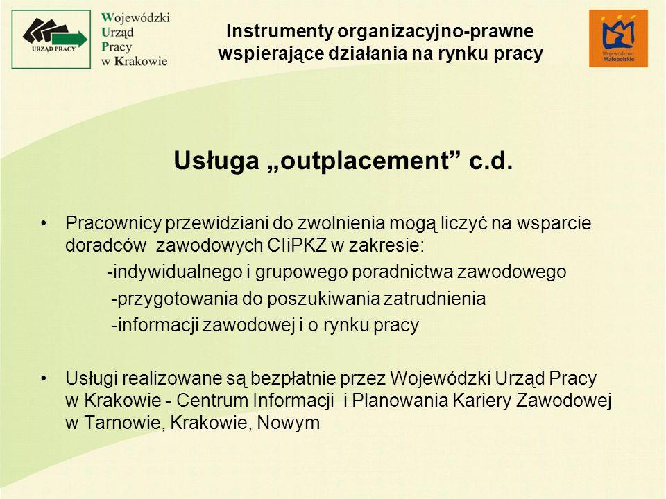 Instrumenty organizacyjno-prawne wspierające działania na rynku pracy Usługa outplacement c.d.