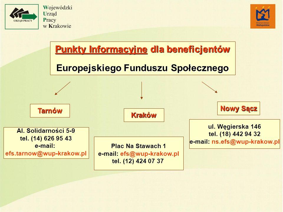 Punkty Informacyjne dla beneficjentów Europejskiego Funduszu Społecznego Plac Na Stawach 1 e-mail: efs@wup-krakow.pl tel. (12) 424 07 37 Al. Solidarno