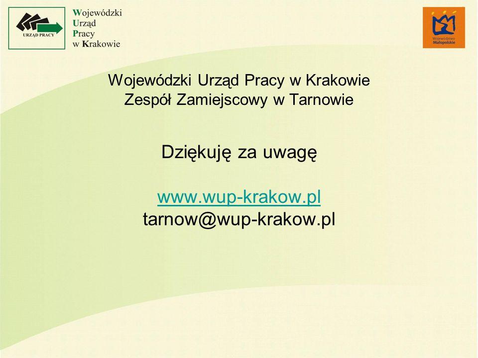 Wojewódzki Urząd Pracy w Krakowie Zespół Zamiejscowy w Tarnowie Dziękuję za uwagę www.wup-krakow.pl tarnow@wup-krakow.pl www.wup-krakow.pl