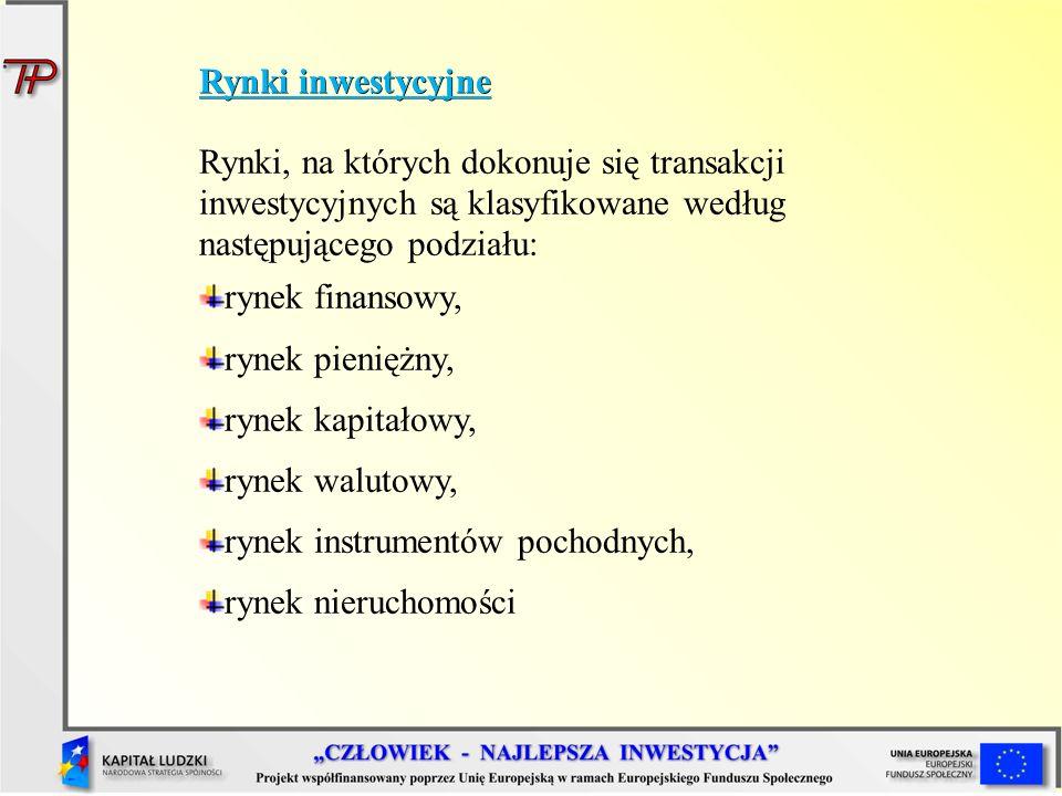 Rynki inwestycyjne Rynki, na których dokonuje się transakcji inwestycyjnych są klasyfikowane według następującego podziału: rynek finansowy, rynek pie
