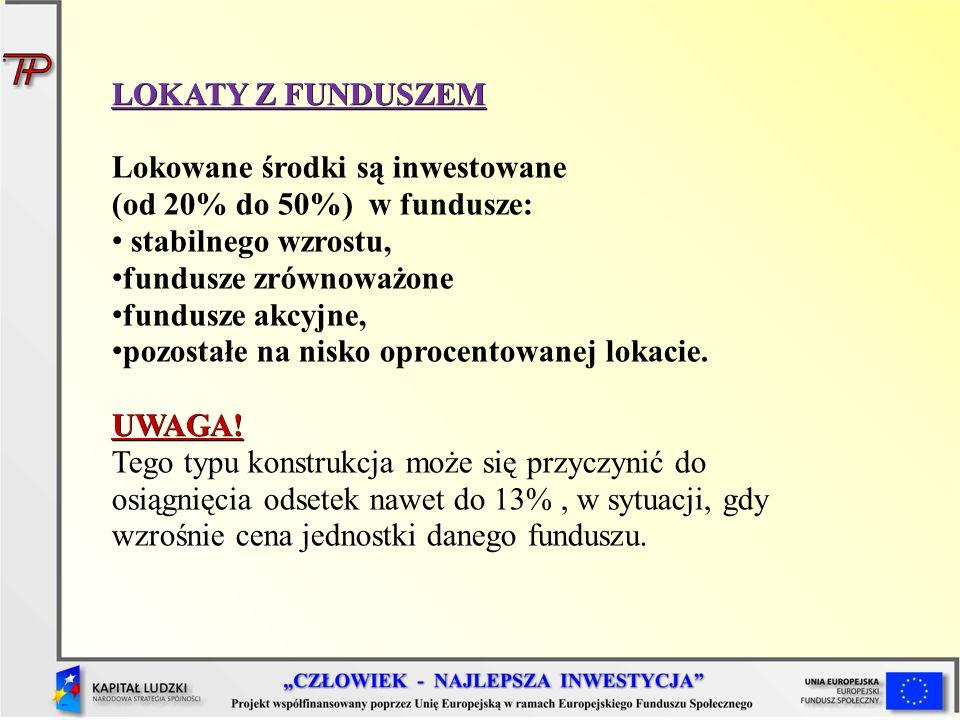 LOKATY Z FUNDUSZEM Lokowane środki są inwestowane (od 20% do 50%) w fundusze: stabilnego wzrostu, fundusze zrównoważone fundusze akcyjne, pozostałe na