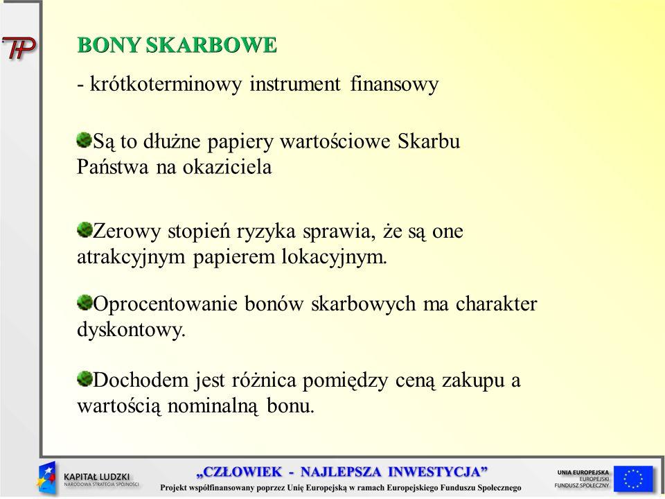 BONY SKARBOWE - krótkoterminowy instrument finansowy Są to dłużne papiery wartościowe Skarbu Państwa na okaziciela Zerowy stopień ryzyka sprawia, że s