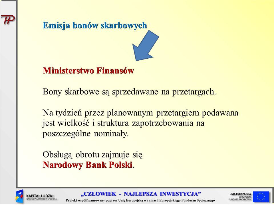 Emisja bonów skarbowych Ministerstwo Finansów Bony skarbowe są sprzedawane na przetargach. Na tydzień przez planowanym przetargiem podawana jest wielk
