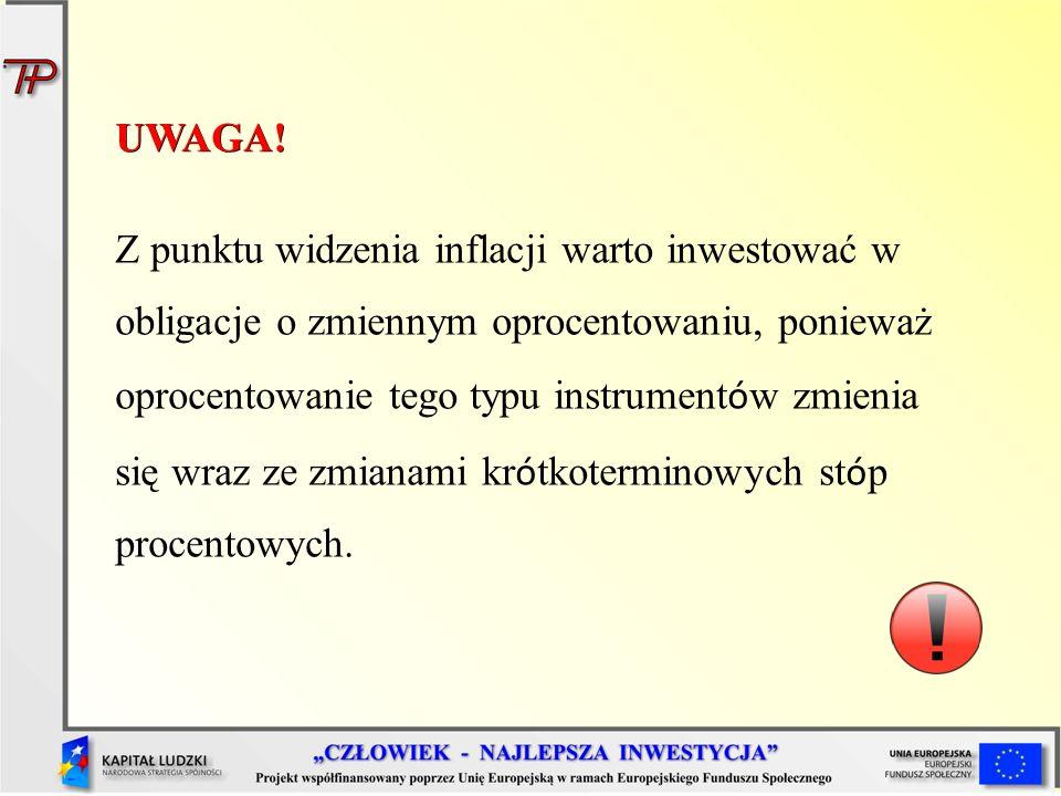 UWAGA! Z punktu widzenia inflacji warto inwestować w obligacje o zmiennym oprocentowaniu, ponieważ oprocentowanie tego typu instrument ó w zmienia się
