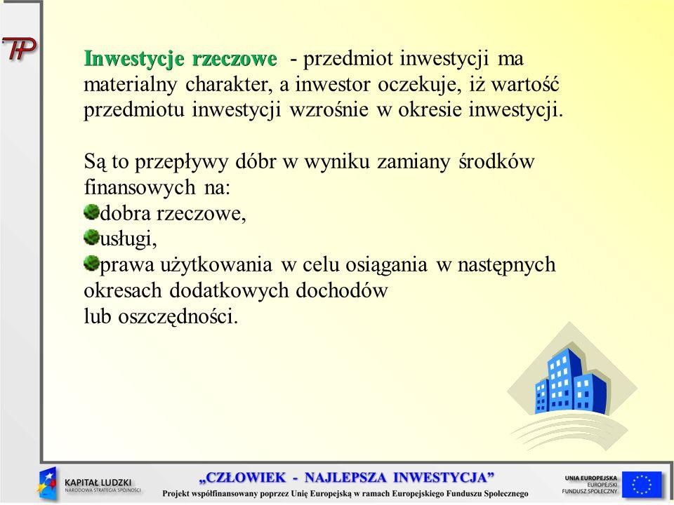 Inwestycje rzeczowe Inwestycje rzeczowe - przedmiot inwestycji ma materialny charakter, a inwestor oczekuje, iż wartość przedmiotu inwestycji wzrośnie