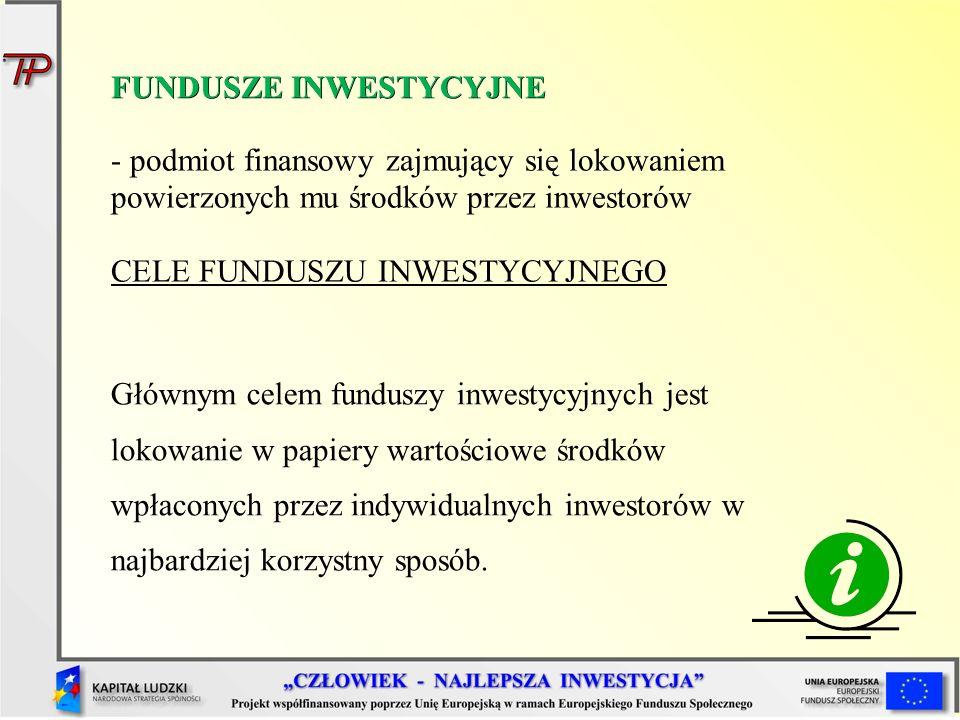 FUNDUSZE INWESTYCYJNE - podmiot finansowy zajmujący się lokowaniem powierzonych mu środków przez inwestorów CELE FUNDUSZU INWESTYCYJNEGO Głównym celem