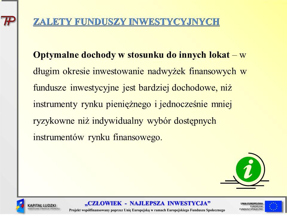 ZALETY FUNDUSZY INWESTYCYJNYCH Optymalne dochody w stosunku do innych lokat – w długim okresie inwestowanie nadwyżek finansowych w fundusze inwestycyj