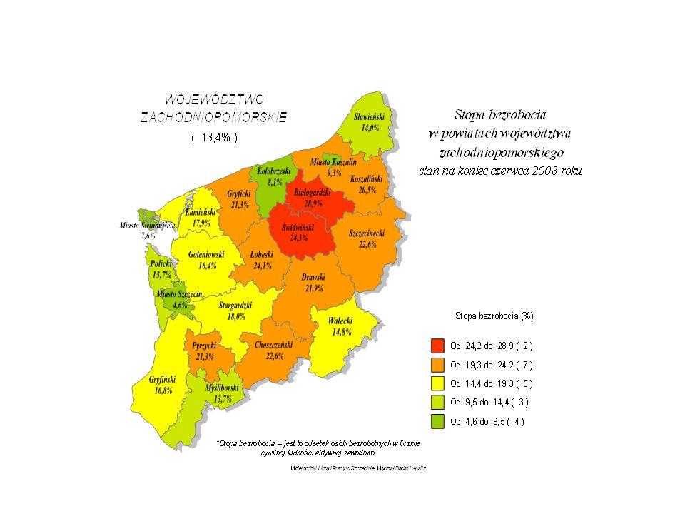 Struktura bezrobotnych w województwie zachodniopomorskim według wykształcenia – stan na koniec I półrocza 2008