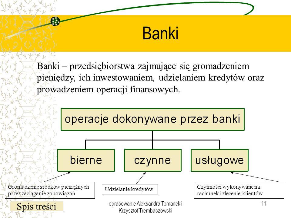 Spis treści opracowanie Aleksandra Tomanek i Krzysztof Trembaczowski 11 Banki Banki – przedsiębiorstwa zajmujące się gromadzeniem pieniędzy, ich inwes