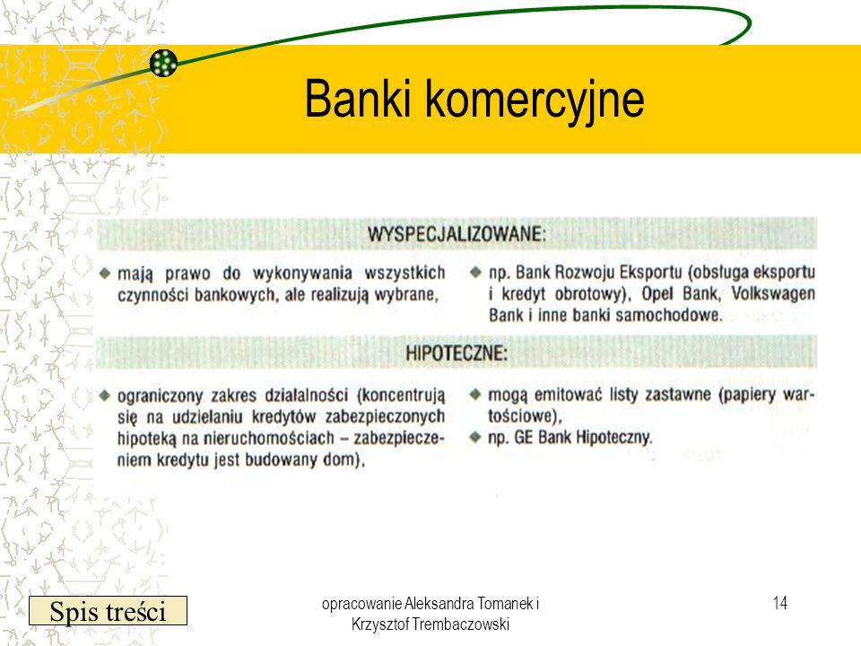 Spis treści opracowanie Aleksandra Tomanek i Krzysztof Trembaczowski 14 Banki komercyjne