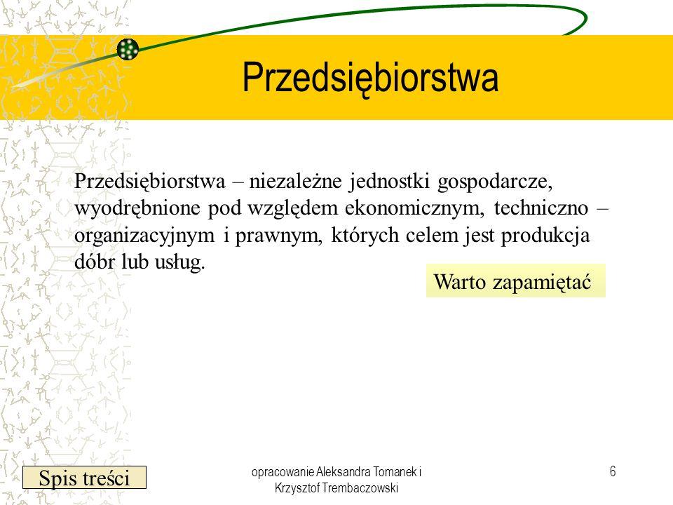 Spis treści opracowanie Aleksandra Tomanek i Krzysztof Trembaczowski 6 Przedsiębiorstwa Przedsiębiorstwa – niezależne jednostki gospodarcze, wyodrębni