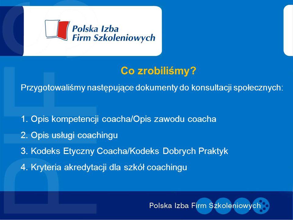 Co zrobiliśmy? Przygotowaliśmy następujące dokumenty do konsultacji społecznych: 1. Opis kompetencji coacha/Opis zawodu coacha 2. Opis usługi coaching