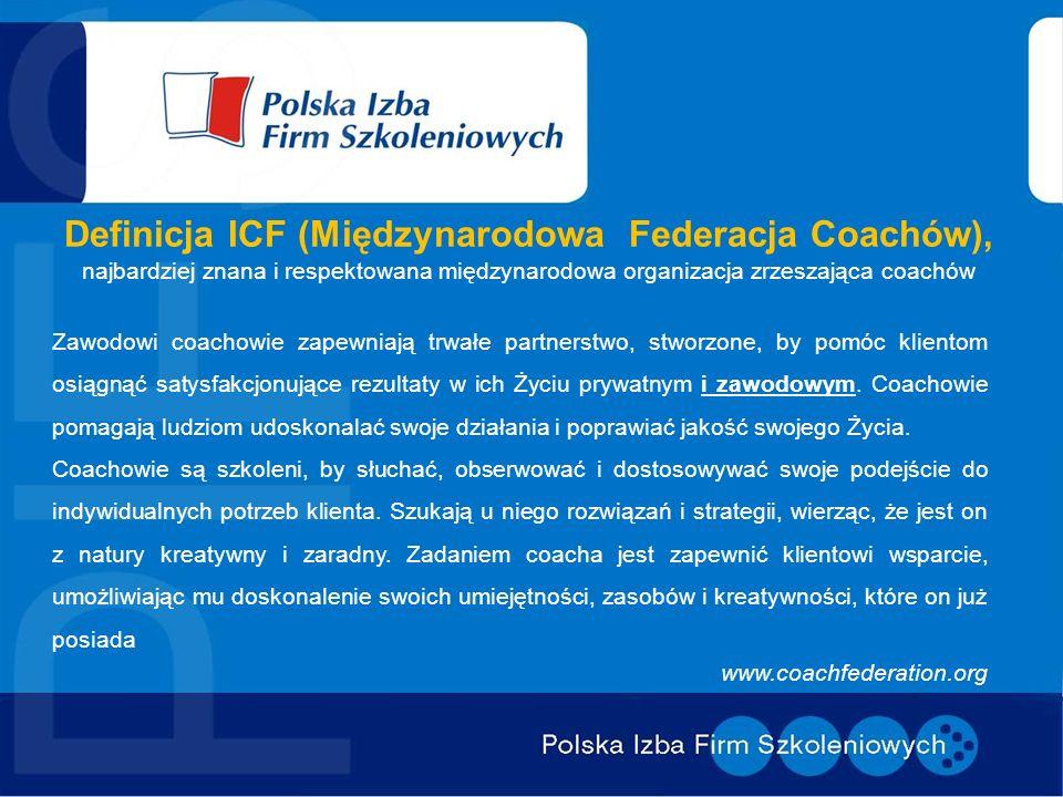 Definicja ICF (Międzynarodowa Federacja Coachów), najbardziej znana i respektowana międzynarodowa organizacja zrzeszająca coachów Zawodowi coachowie z
