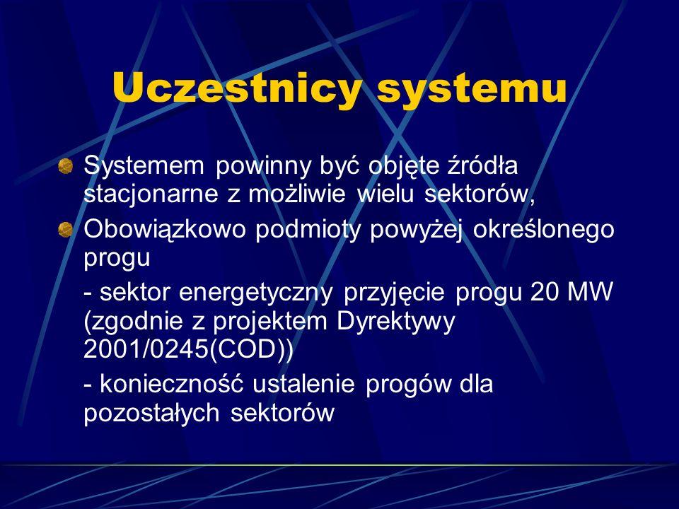 Uczestnicy systemu Systemem powinny być objęte źródła stacjonarne z możliwie wielu sektorów, Obowiązkowo podmioty powyżej określonego progu - sektor e