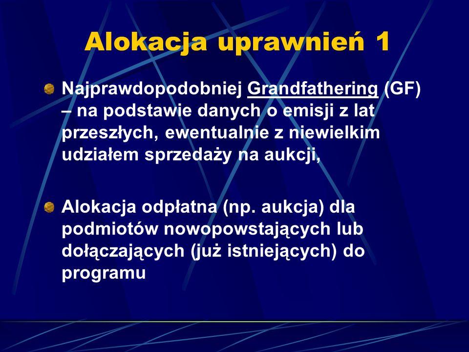 Alokacja uprawnień 1 Najprawdopodobniej Grandfathering (GF) – na podstawie danych o emisji z lat przeszłych, ewentualnie z niewielkim udziałem sprzeda