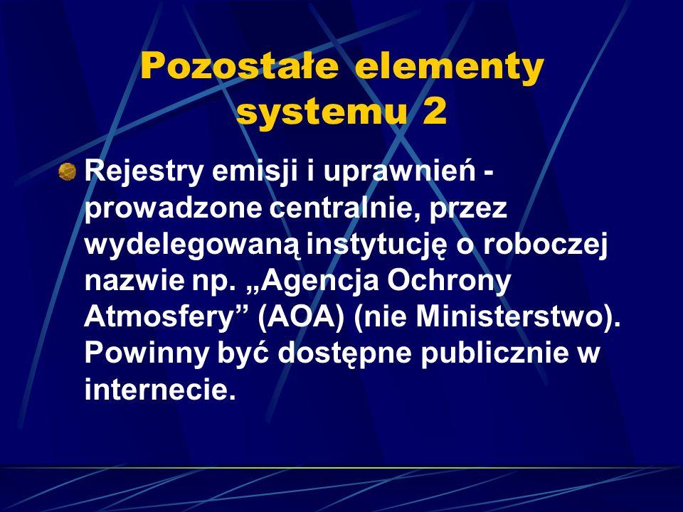 Pozostałe elementy systemu 2 Rejestry emisji i uprawnień - prowadzone centralnie, przez wydelegowaną instytucję o roboczej nazwie np. Agencja Ochrony