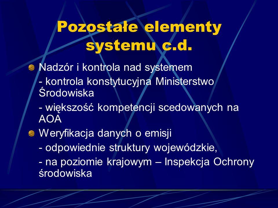 Pozostałe elementy systemu c.d. Nadzór i kontrola nad systemem - kontrola konstytucyjna Ministerstwo Środowiska - większość kompetencji scedowanych na