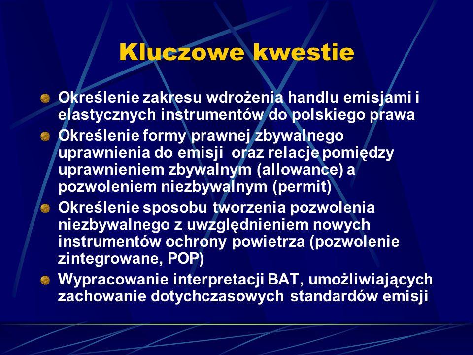 Kluczowe kwestie Określenie zakresu wdrożenia handlu emisjami i elastycznych instrumentów do polskiego prawa Określenie formy prawnej zbywalnego upraw