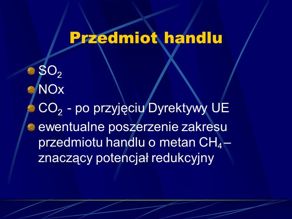 Przedmiot handlu SO 2 NOx CO 2 - po przyjęciu Dyrektywy UE ewentualne poszerzenie zakresu przedmiotu handlu o metan CH 4 – znaczący potencjał redukcyj