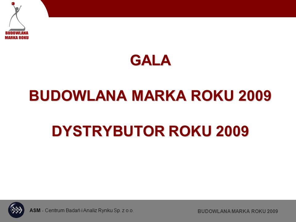 ASM - Centrum Badań i Analiz Rynku BUDOWLANA MARKA ROKU 2009 BUDOWLANA MARKA ROKU TYNKI DEKORACYJNE