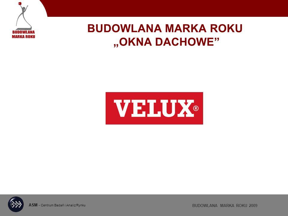 ASM - Centrum Badań i Analiz Rynku BUDOWLANA MARKA ROKU 2009 BUDOWLANA MARKA ROKU OKNA DACHOWE