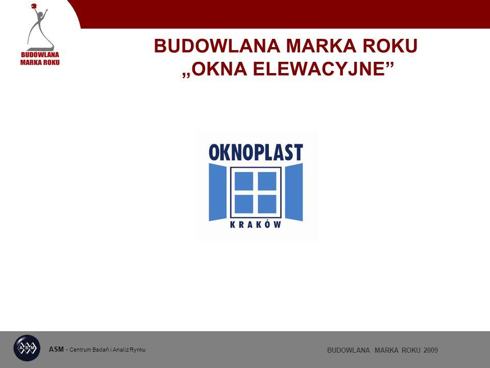 ASM - Centrum Badań i Analiz Rynku BUDOWLANA MARKA ROKU 2009 BUDOWLANA MARKA ROKU OKNA ELEWACYJNE