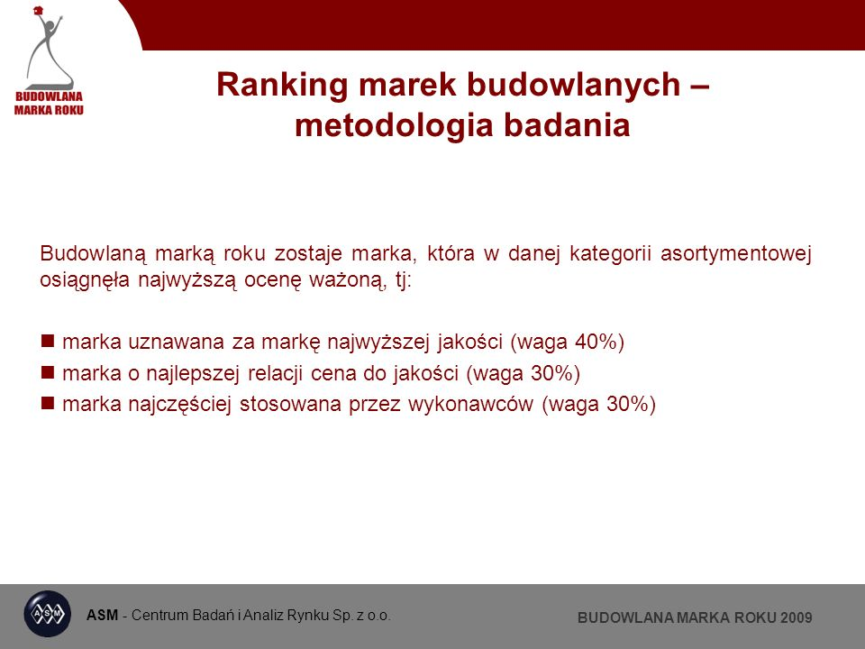 ASM - Centrum Badań i Analiz Rynku BUDOWLANA MARKA ROKU 2009 SYSTEMY RYNNOWE
