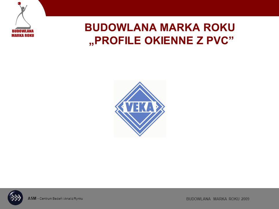ASM - Centrum Badań i Analiz Rynku BUDOWLANA MARKA ROKU 2009 BUDOWLANA MARKA ROKU PROFILE OKIENNE Z PVC