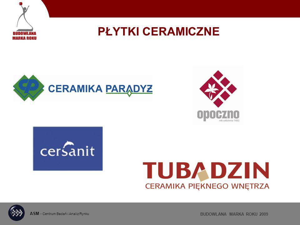 ASM - Centrum Badań i Analiz Rynku BUDOWLANA MARKA ROKU 2009 PŁYTKI CERAMICZNE
