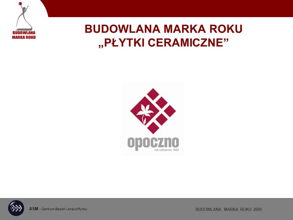 ASM - Centrum Badań i Analiz Rynku BUDOWLANA MARKA ROKU 2009 BUDOWLANA MARKA ROKU PŁYTKI CERAMICZNE
