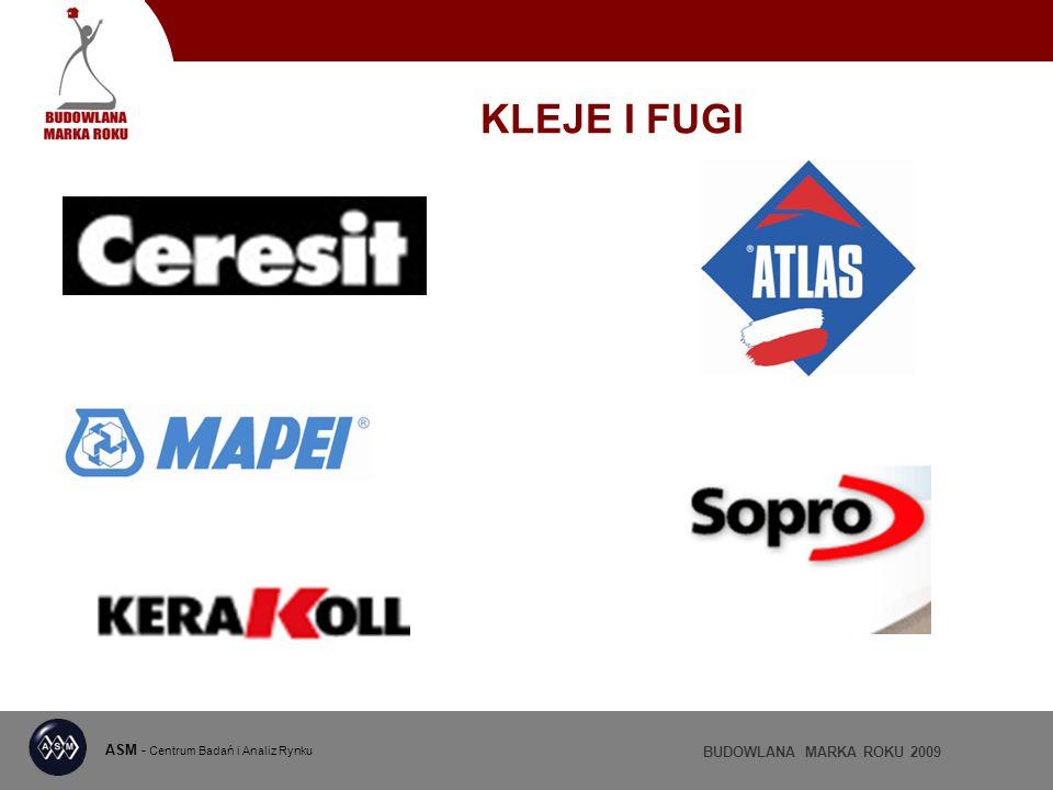ASM - Centrum Badań i Analiz Rynku BUDOWLANA MARKA ROKU 2009 KLEJE I FUGI