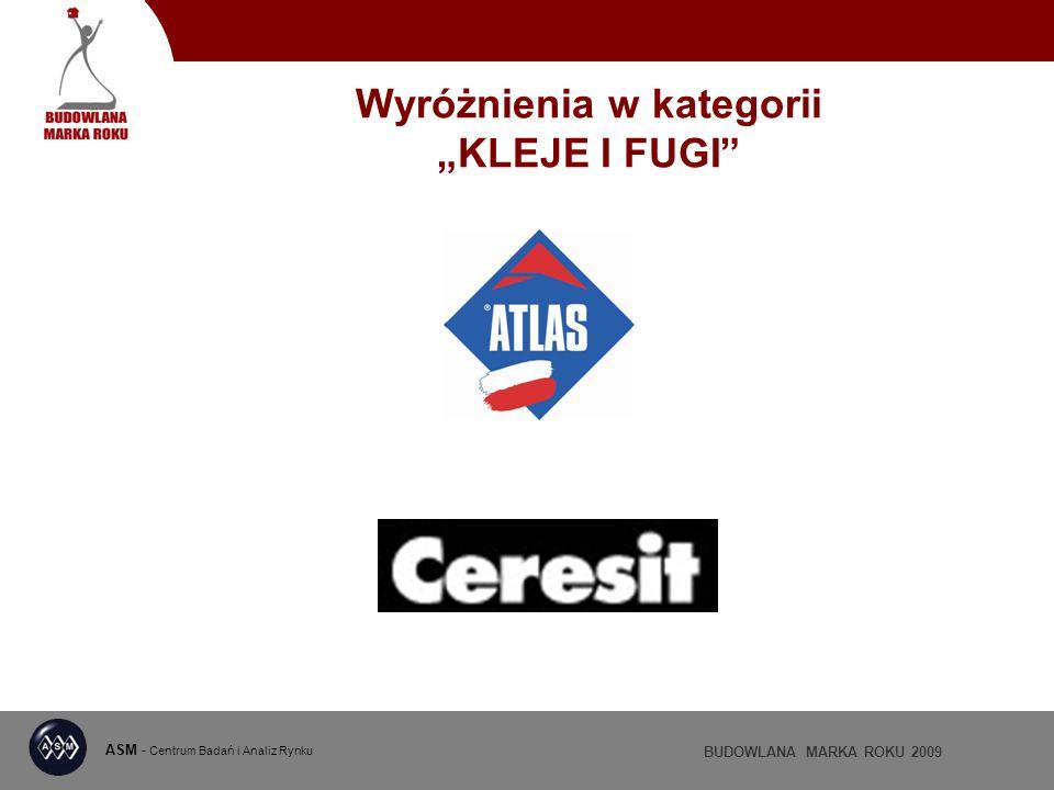 ASM - Centrum Badań i Analiz Rynku BUDOWLANA MARKA ROKU 2009 Wyróżnienia w kategorii KLEJE I FUGI