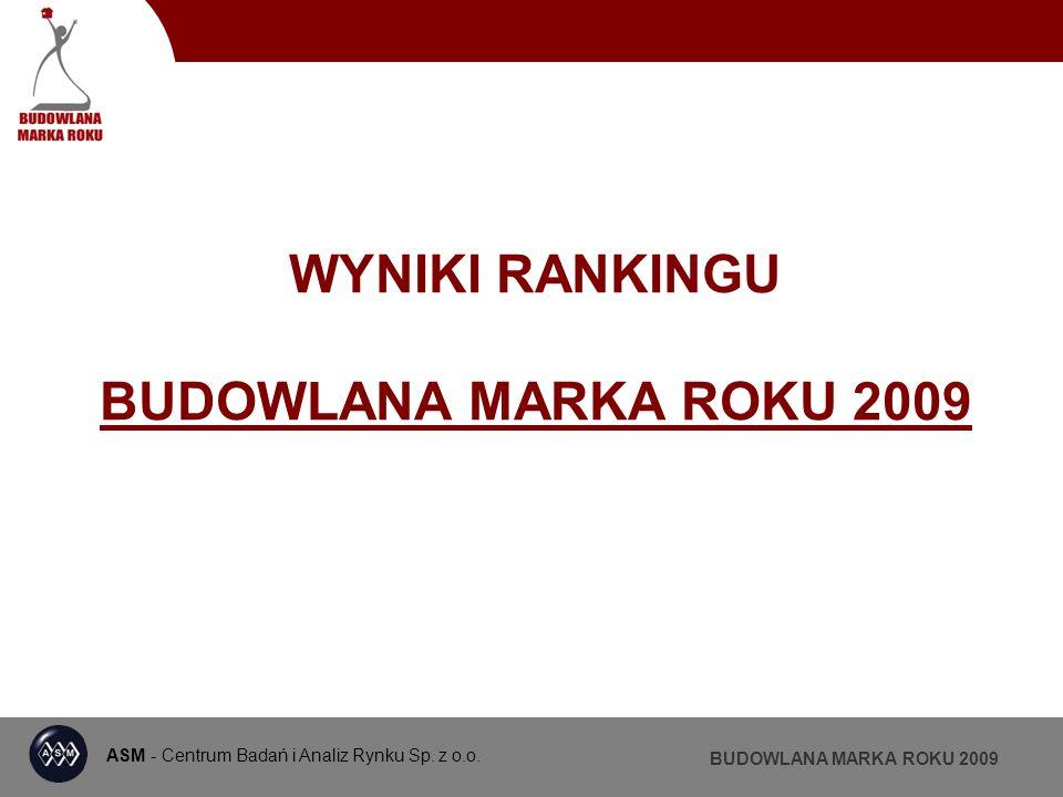 ASM - Centrum Badań i Analiz Rynku BUDOWLANA MARKA ROKU 2009 DRZWI WEWNĘTRZNE