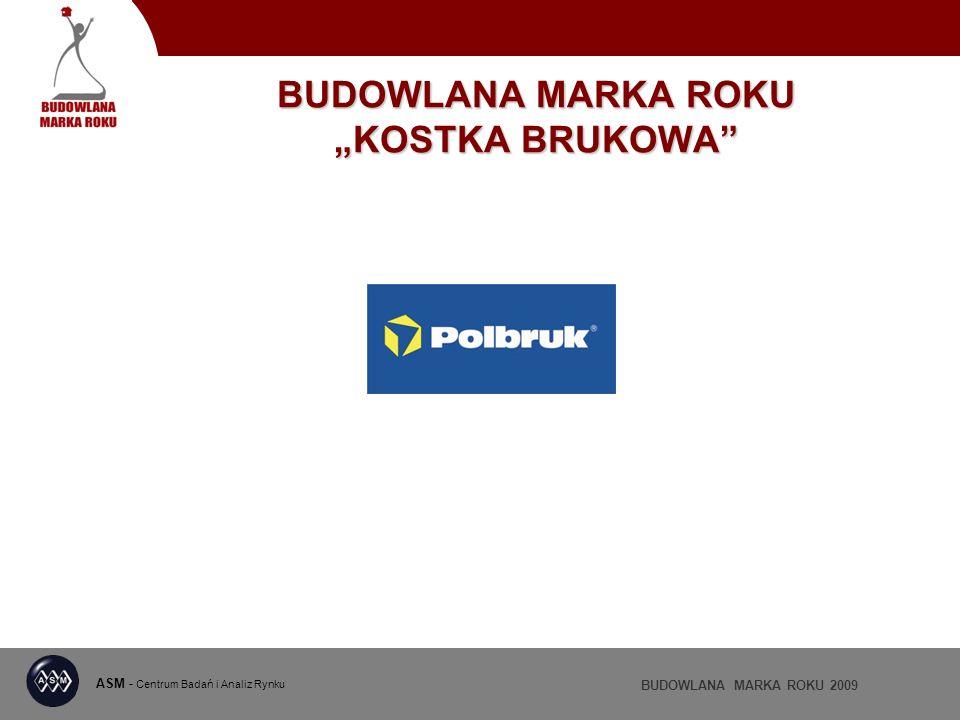 ASM - Centrum Badań i Analiz Rynku BUDOWLANA MARKA ROKU 2009 BUDOWLANA MARKA ROKU KOSTKA BRUKOWA