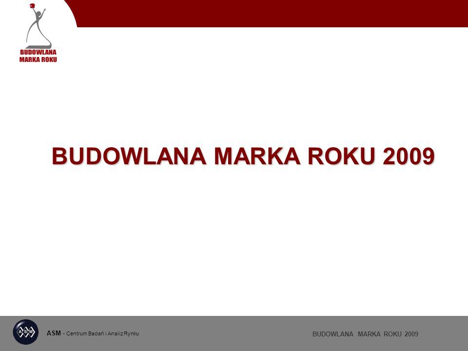 ASM - Centrum Badań i Analiz Rynku BUDOWLANA MARKA ROKU 2009