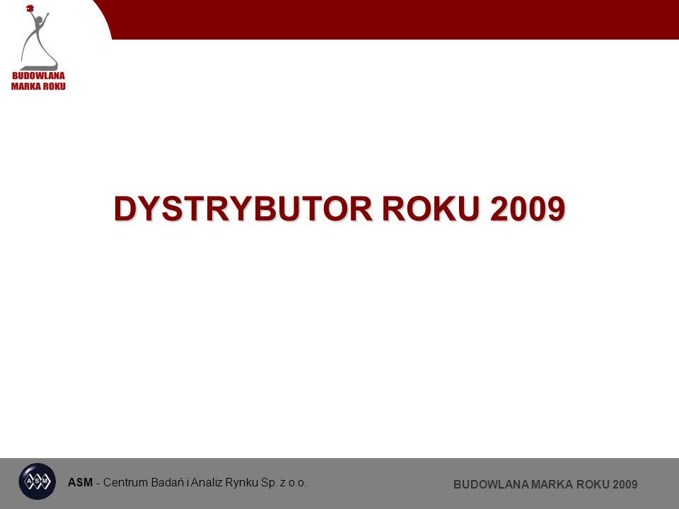 ASM - Centrum Badań i Analiz Rynku Sp. z o.o. BUDOWLANA MARKA ROKU 2009 DYSTRYBUTOR ROKU 2009